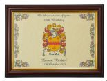 Birthday Family Crest Coat of Arms Framed Print PERSONALISED, Brown Frame ref BCBF